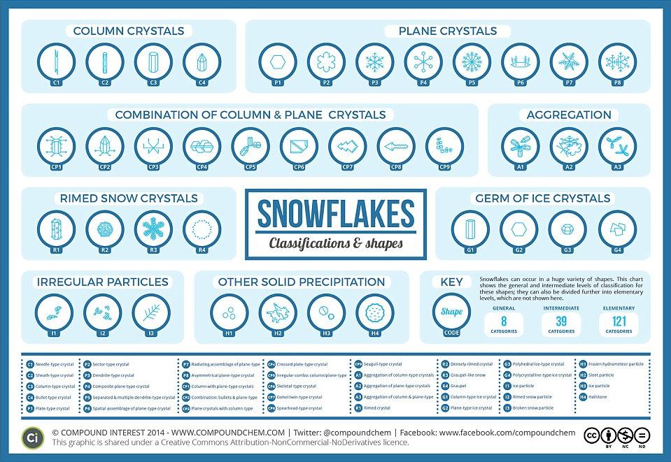 Types de flocons de neige