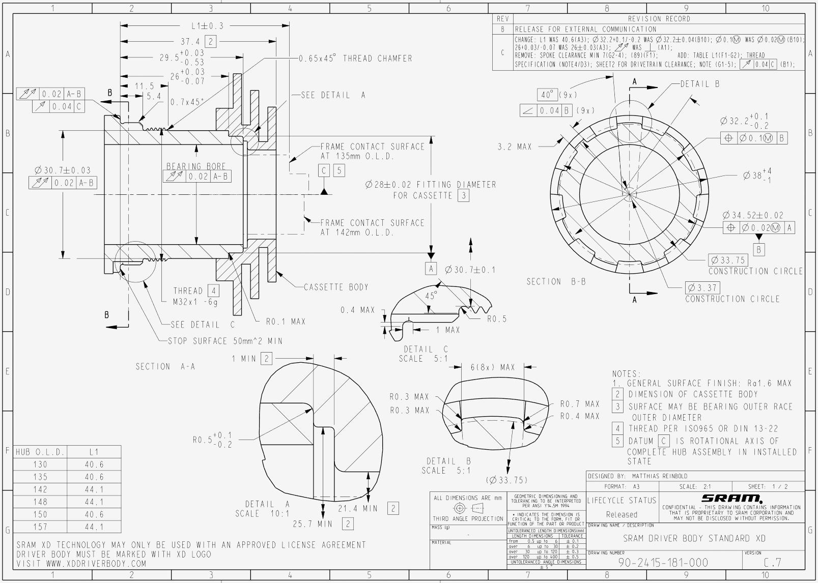 Dessin technique SRAM XD